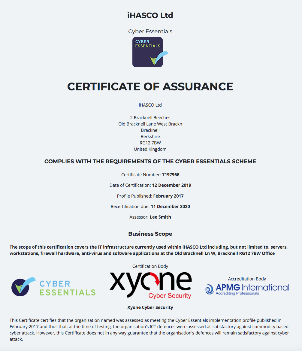 iHASCO's Cyber Essentials Certificate 2020