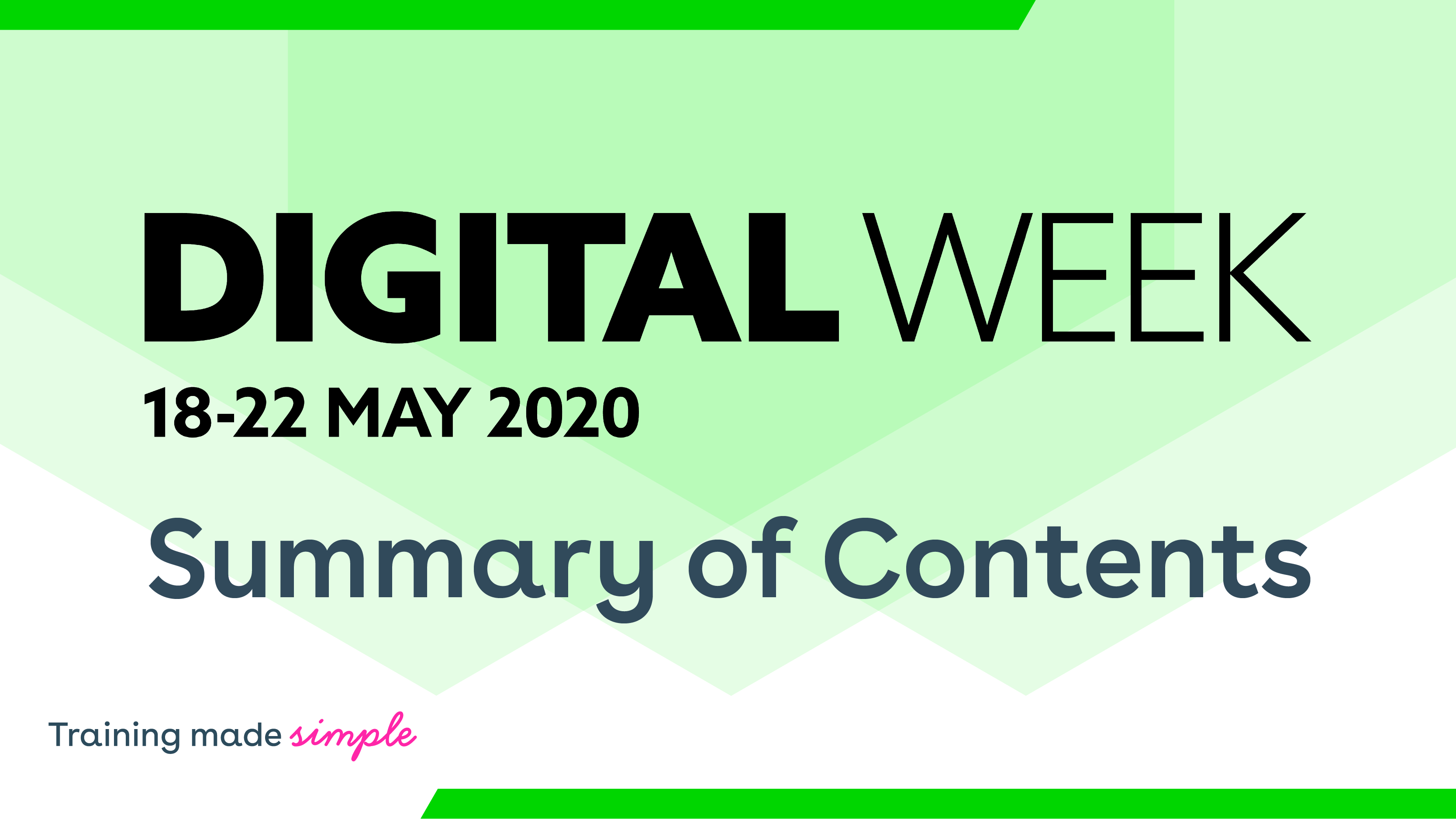 Digital Week 2020 - Summary of Contents