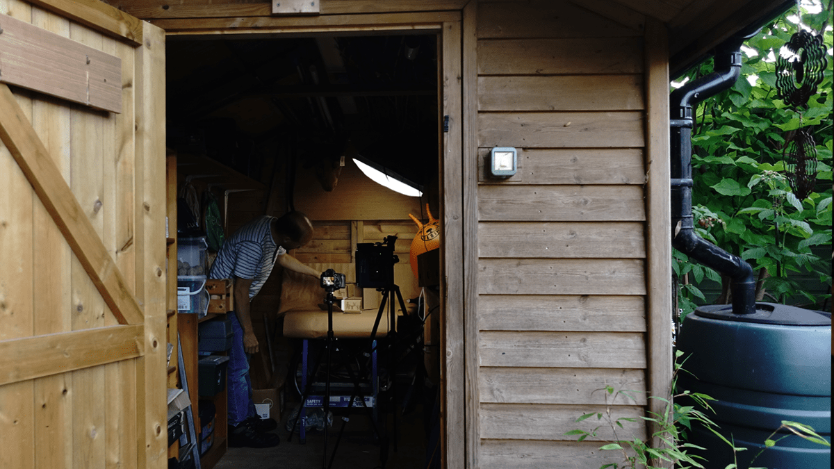 Filming in the shed for iHASCO's effective remote working course