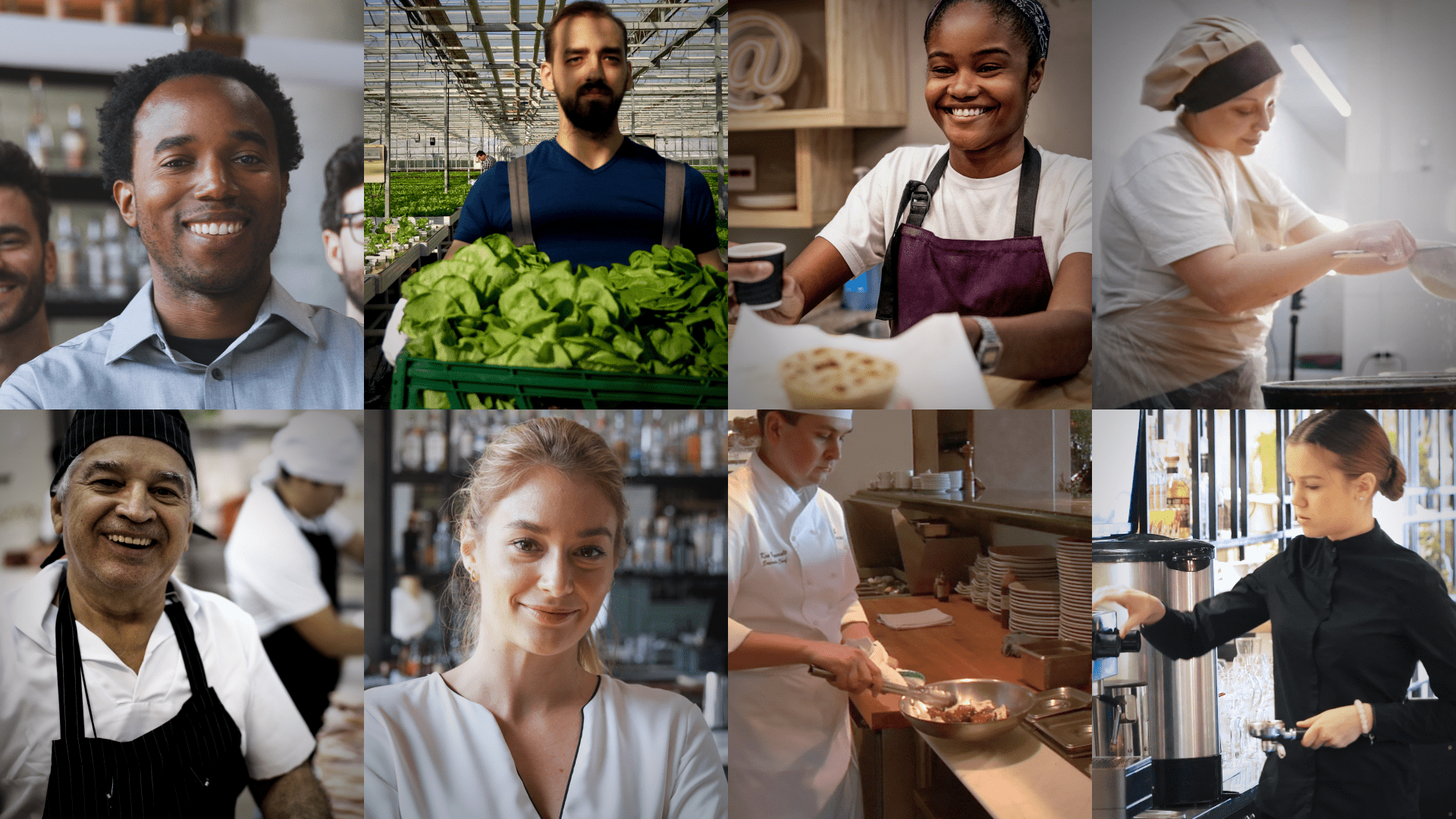 A variety of people working with food, taken from iHASCO's food safety and hygiene training
