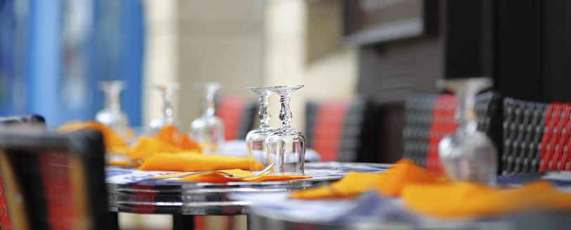 Image of an empty set table in a generic restaurant