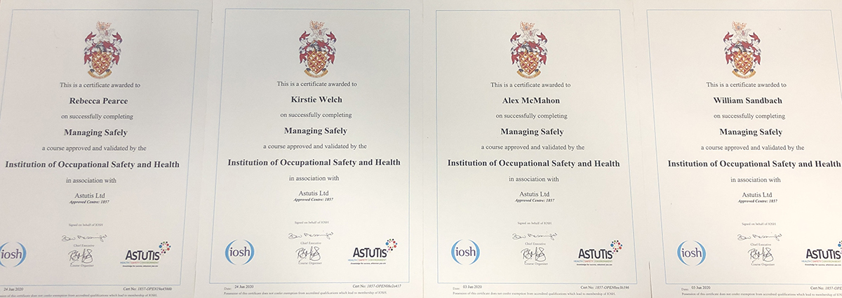 IOSH Managing Safely Certificates