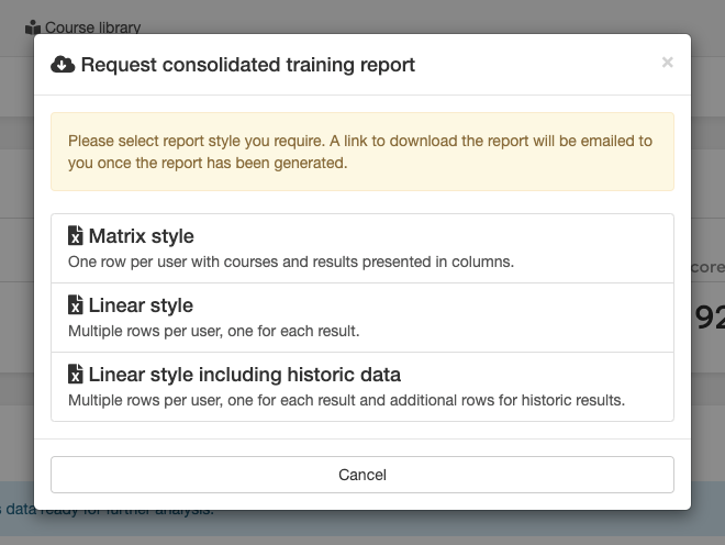 Image showing the LMS dialog from which you can pick the consolidated training report style.