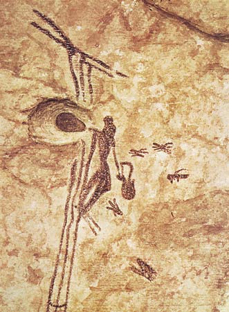 Cave painting showing ancient uses of ladders