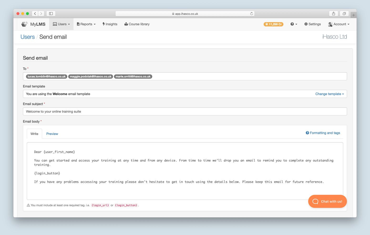 A screenshot of the new compose email screen in the iHASCO client LMS.