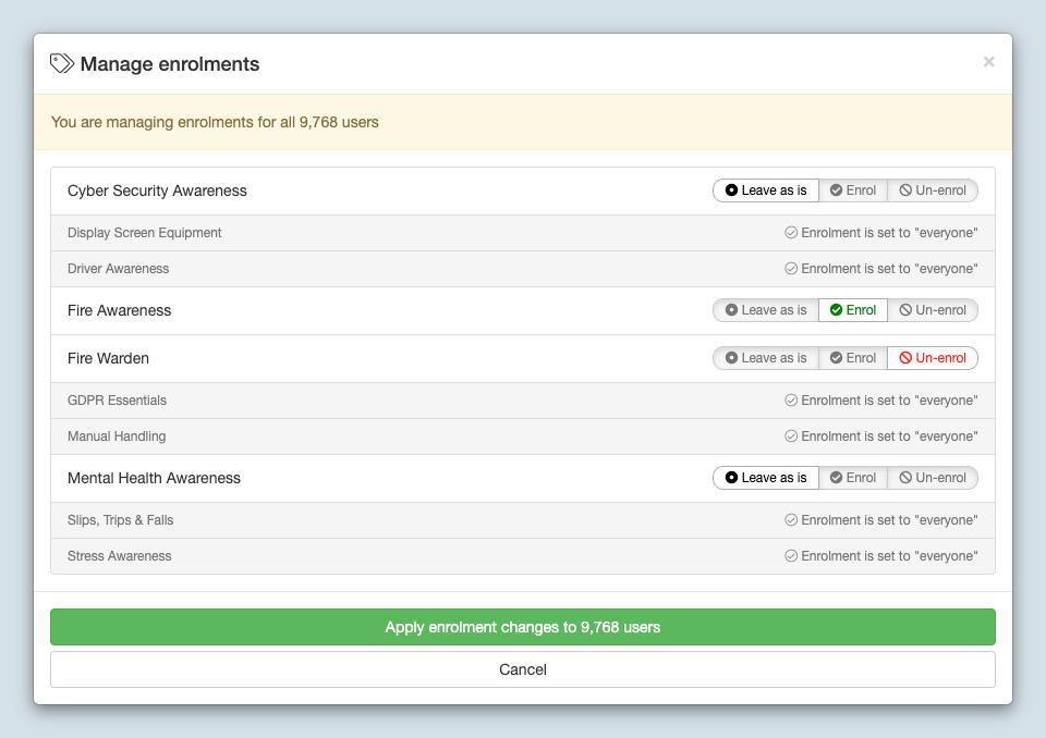 New User Course Enrolment Screen