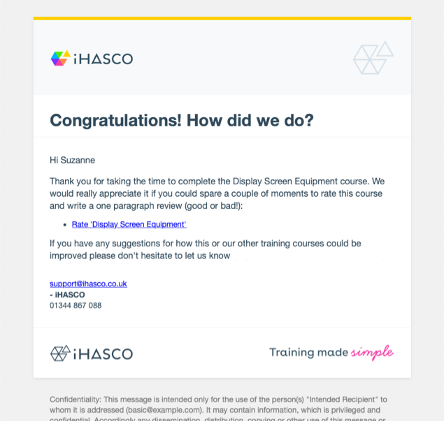 Screenshot of new email templates.