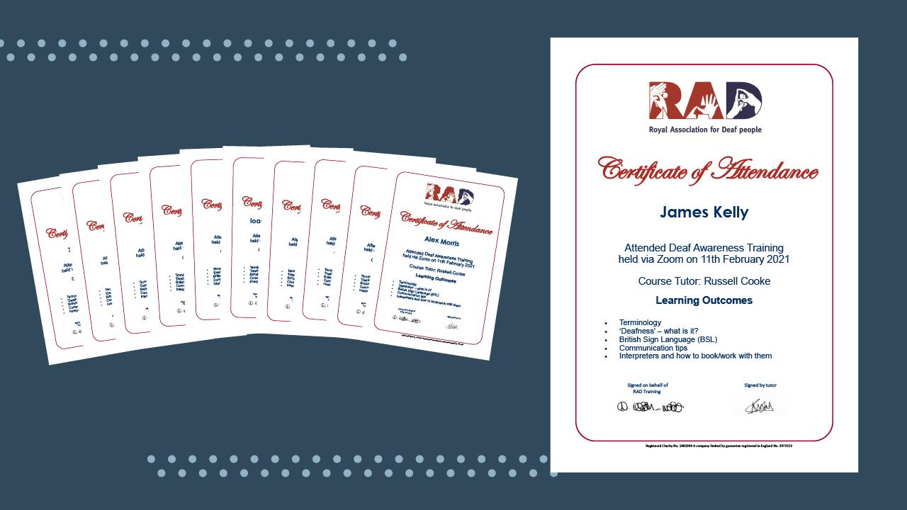 RAD certificates