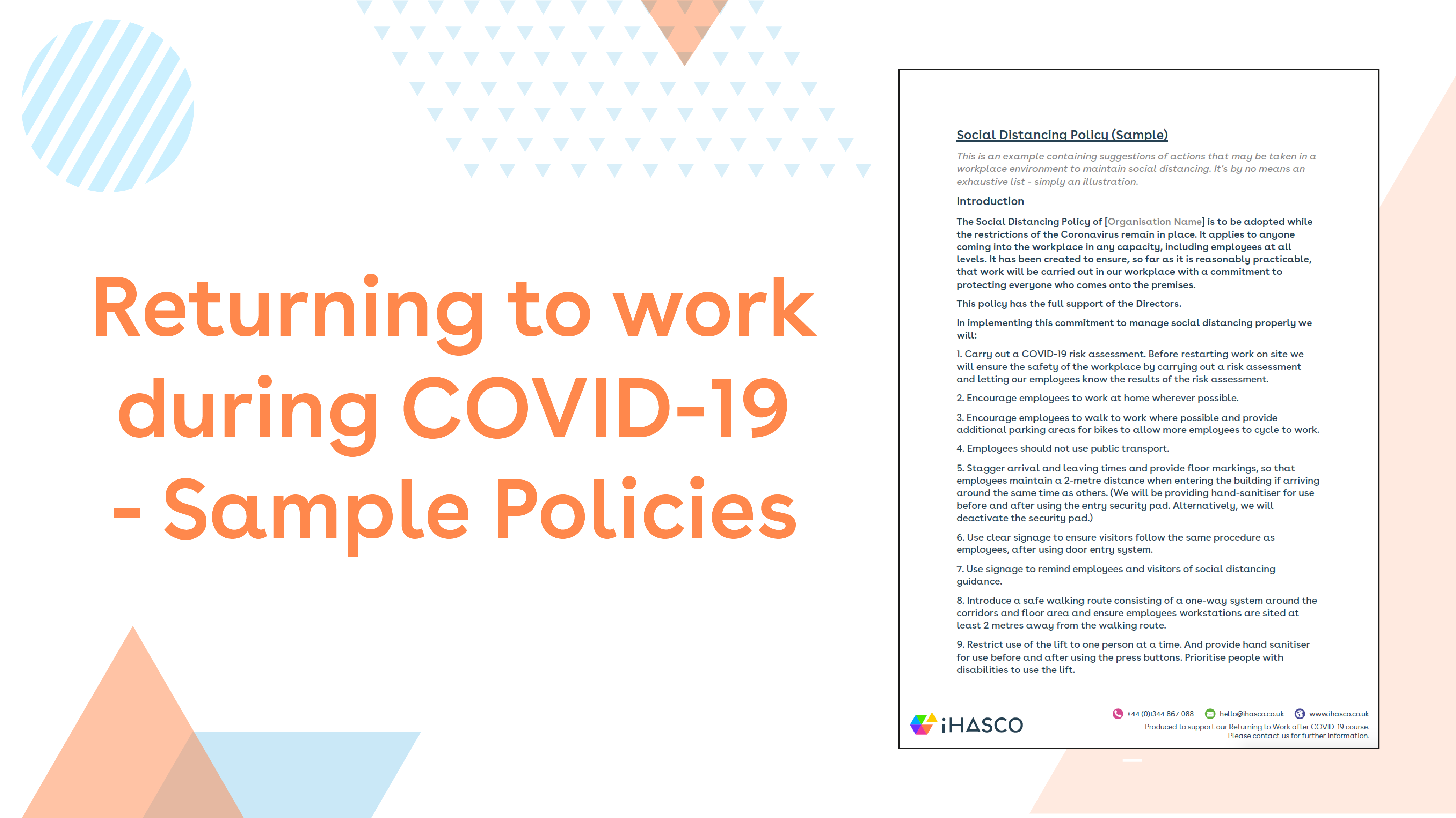 Returning to work policy samples