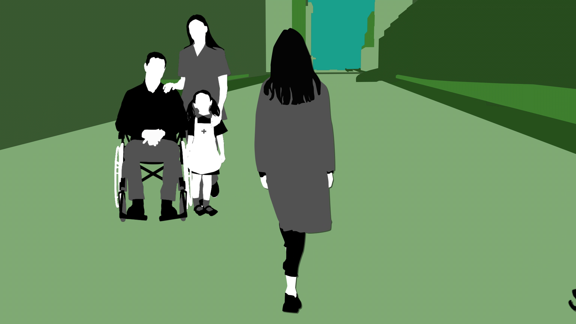 A drawing of a lady walking towards a group of people - a man in a wheelchair, a child and a carer, taken from one of iHASCO's online care certificate courses