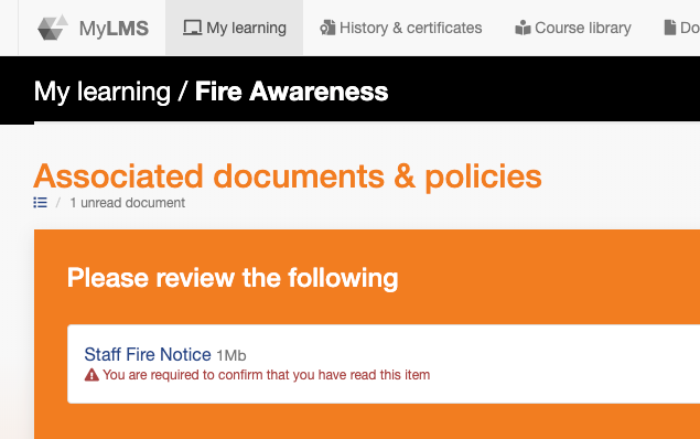 A Staff Fire Notice presented as required reading in the Fire Awareness training course
