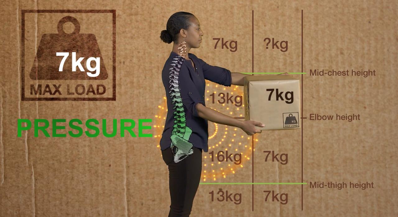 Woman lifting box as part of manual handling