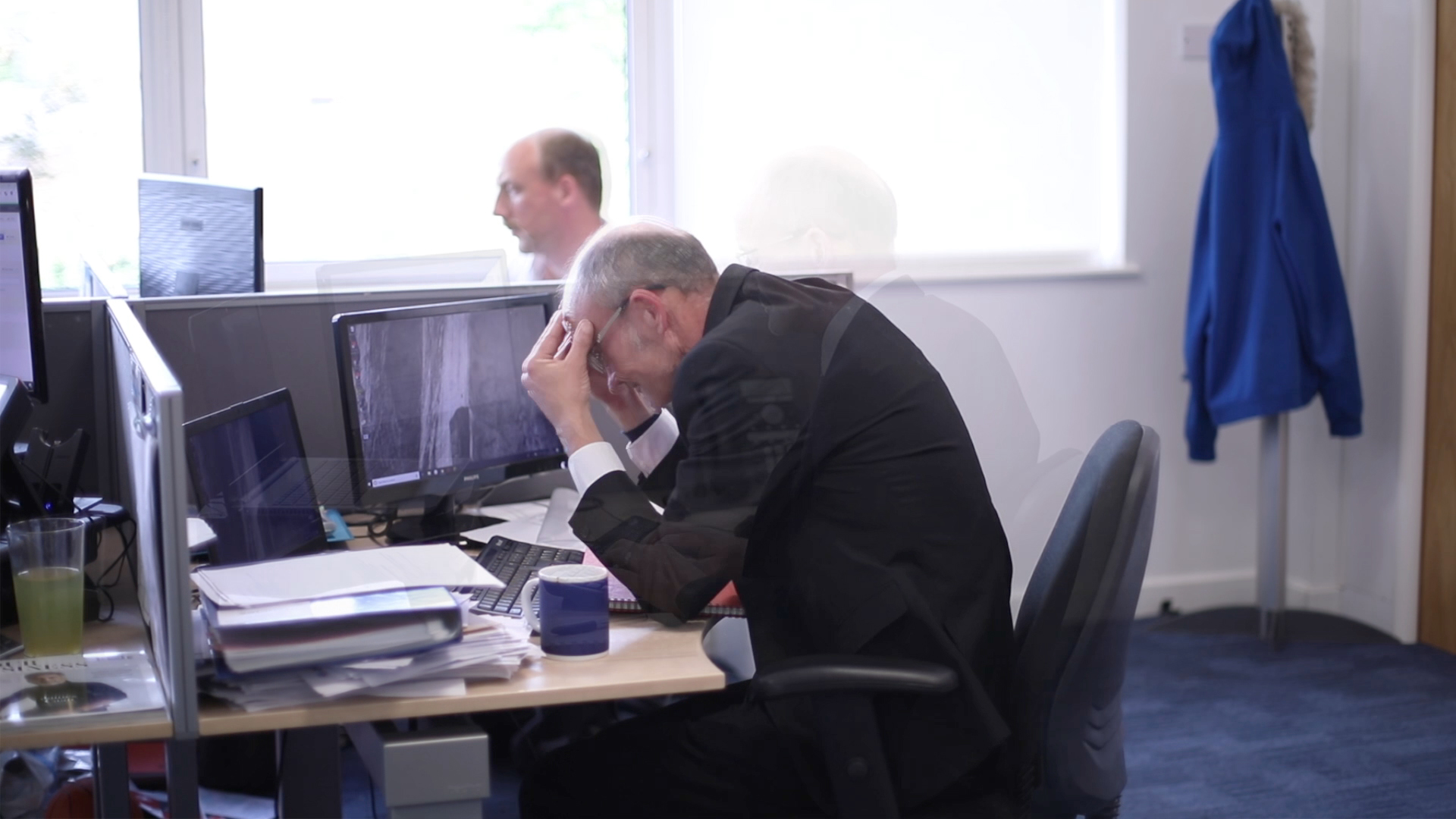 A stressed worker - Screenshot from our Time Management Training course