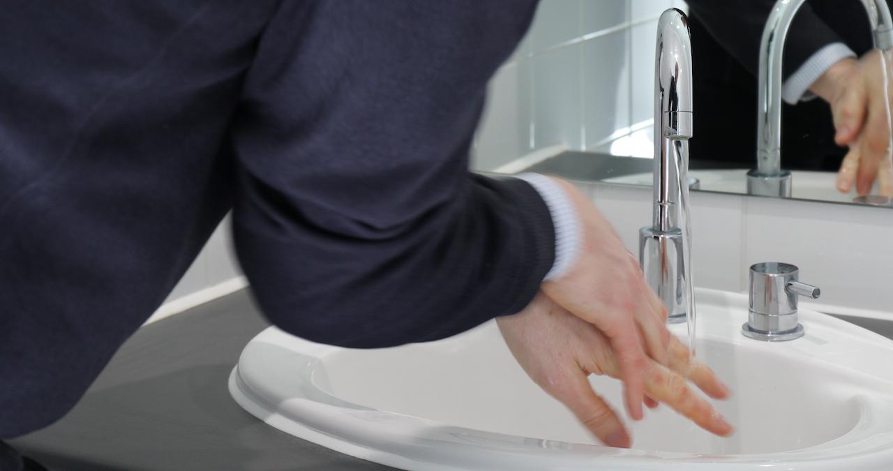 Washing hands thoroughly