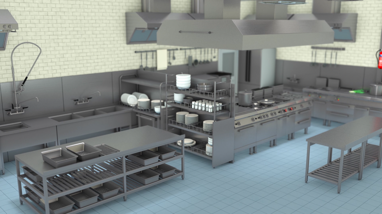 Animation of a workplace kitchen