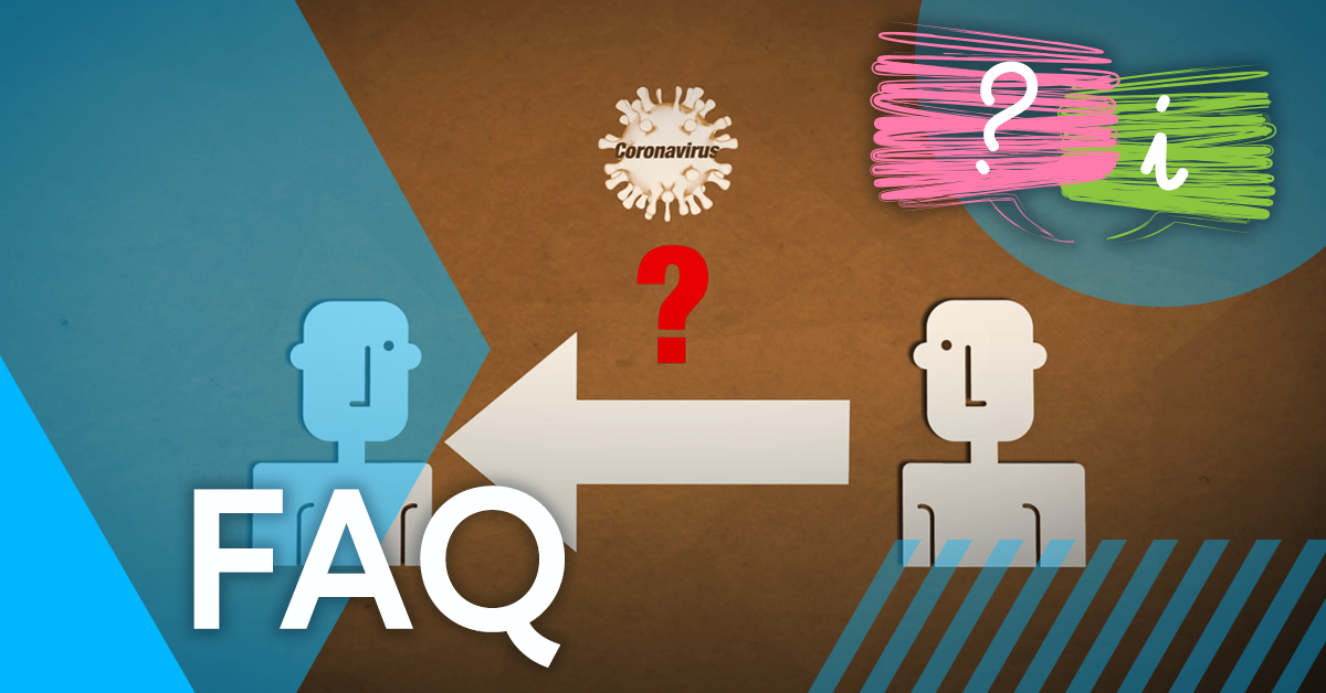 Drawing of 2 people with an arrow between them with a question mark and Coronavirus germ above, taken from iHASCO's online Coronavirus awareness training