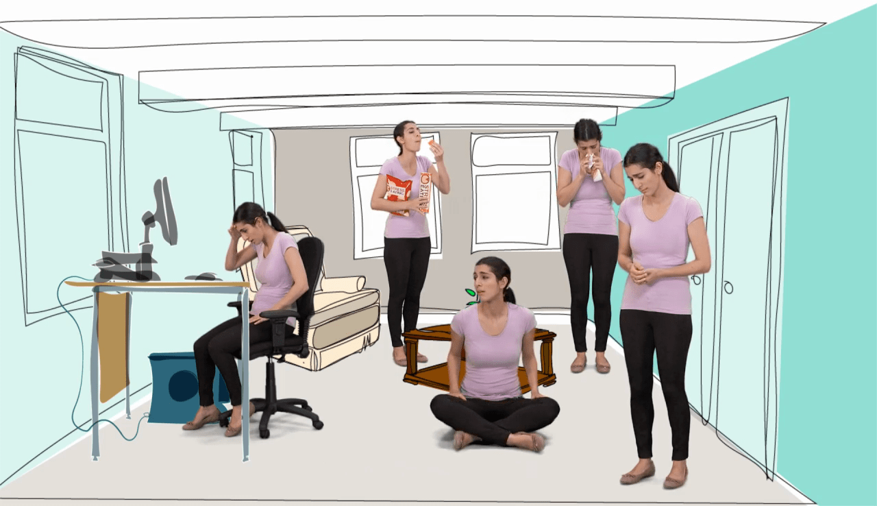 Image of one worker dotted about 5 times in a room of their home juggling many things taken from iHASCO's health and safety for homeworkers course
