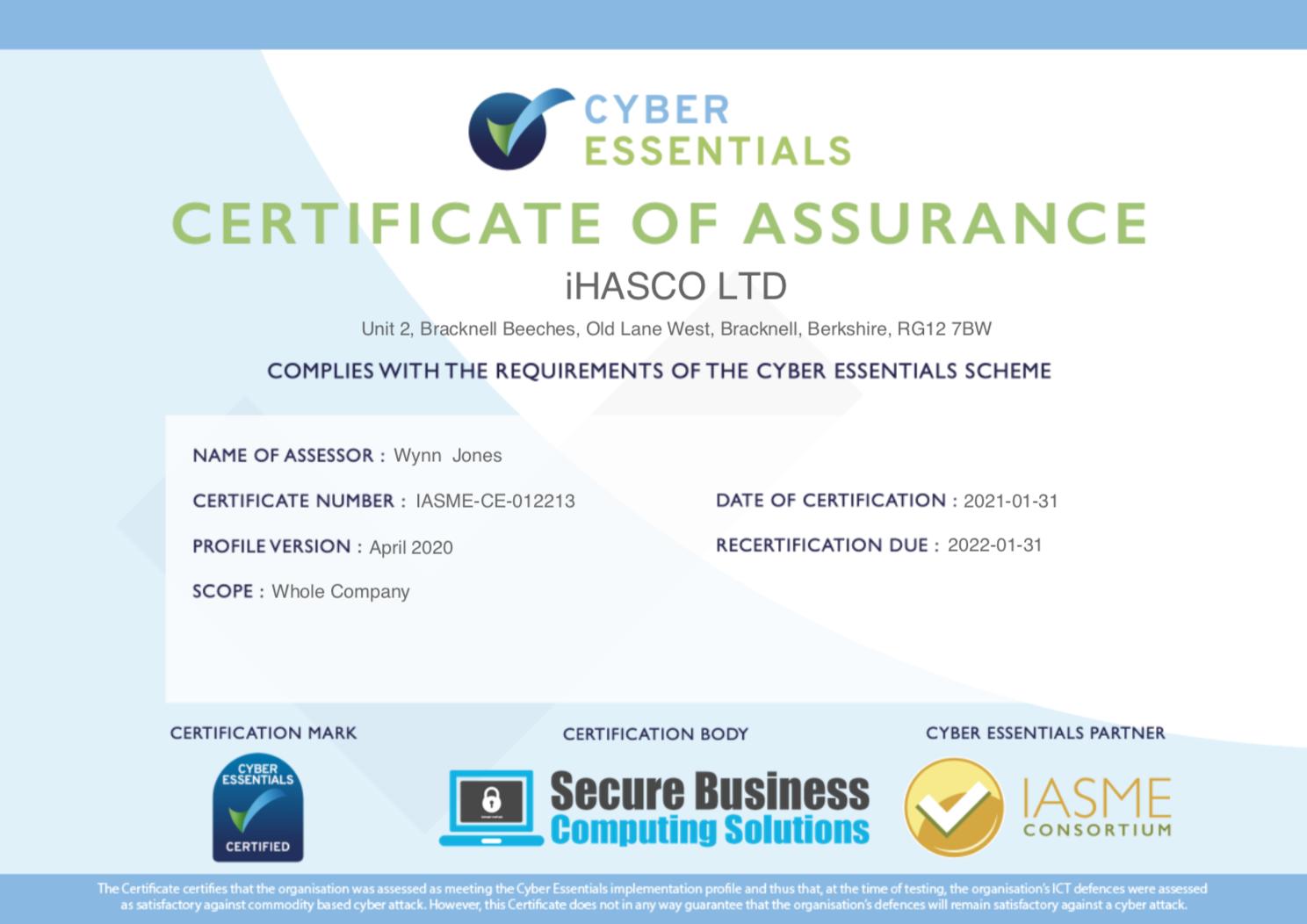 iHASCO's Cyber Essentials Certificate 2021