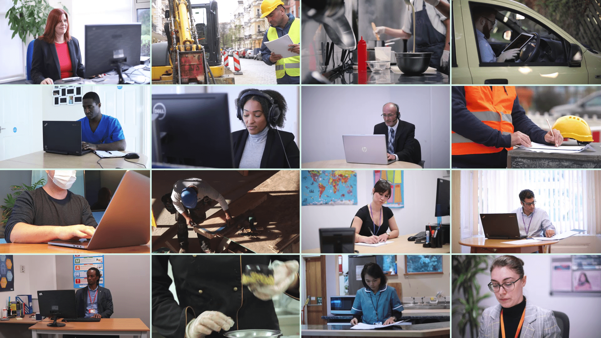 images of people at work from different industries, taken from iHASCO's online training course.