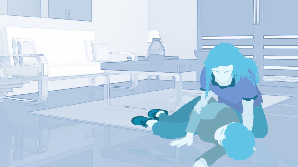 image showing woman fallen