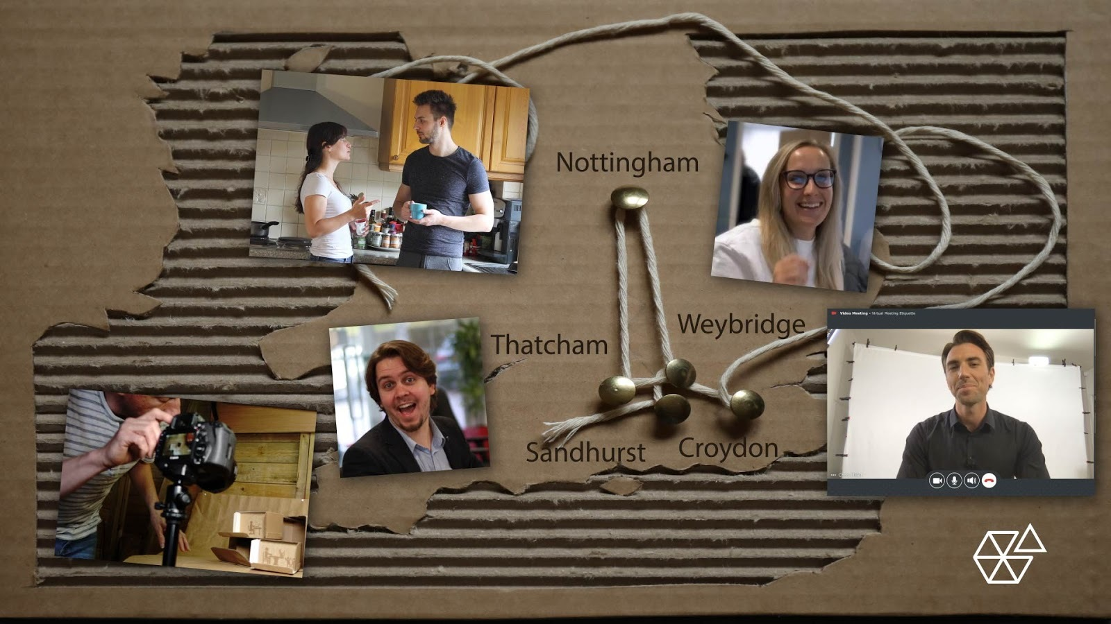 Cardboard map of UK, with faces of the team positioned around the UK to produce our Effective Remote Working course