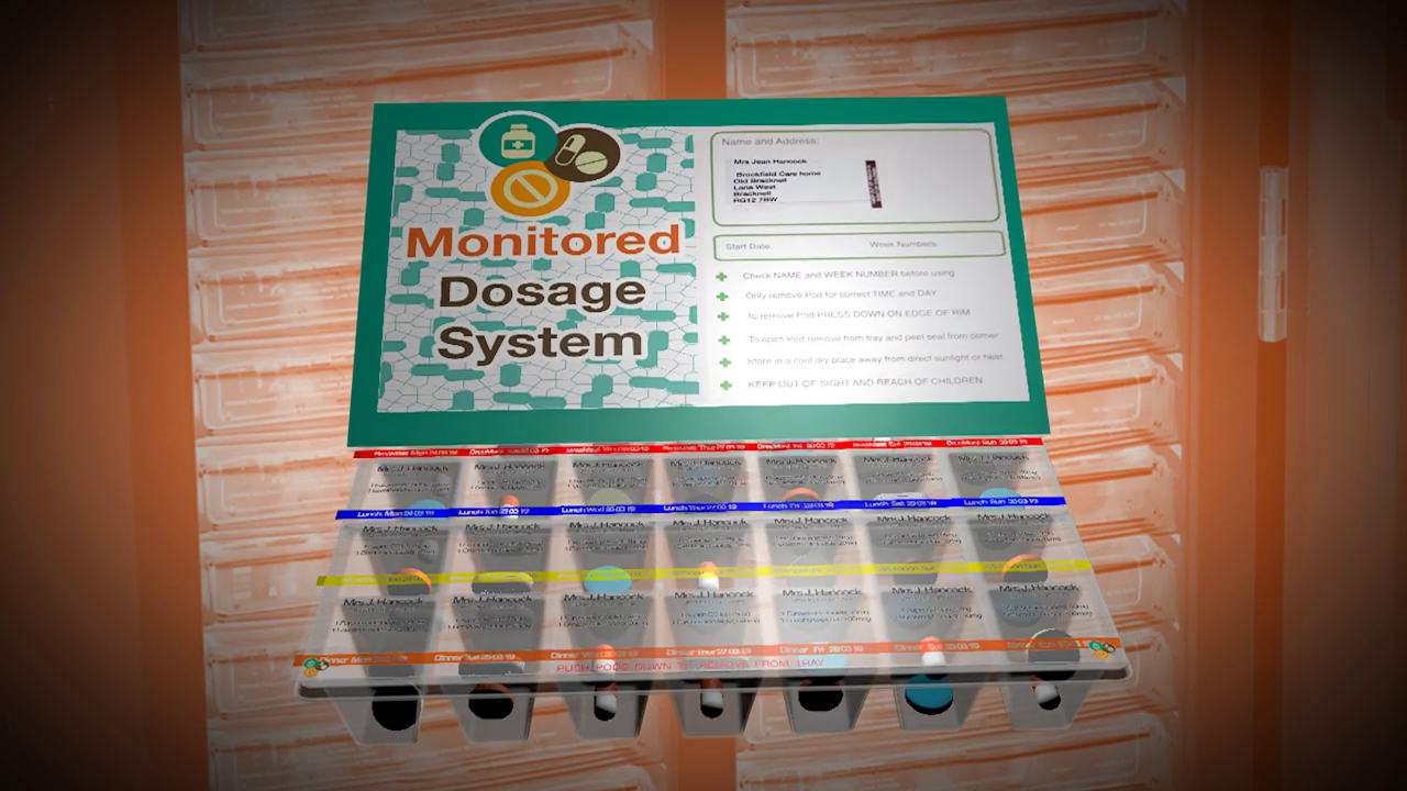 Monitored Dosage system used for those administering drugs in care.