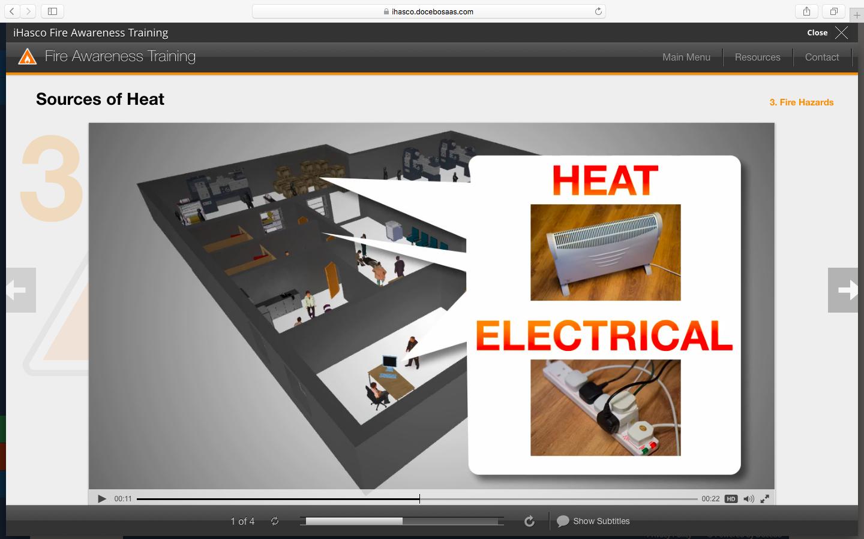 iHasco's Fire Awareness Course running inside Docebo's LMS.