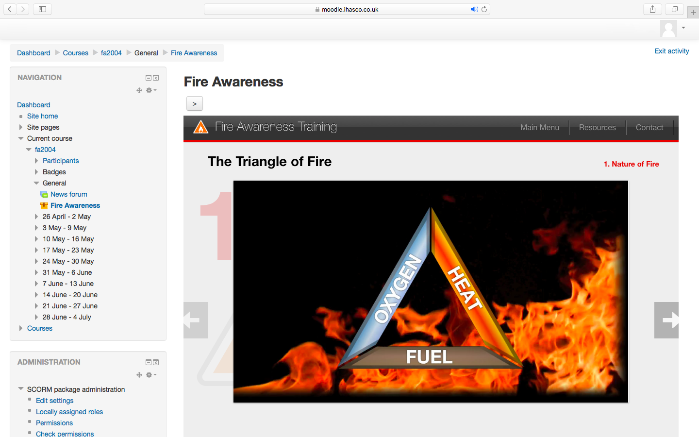 iHasco's Fire Awareness Course running inside Moodle's LMS