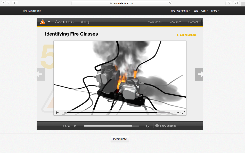 iHasco's Fire Awareness Course running inside Talent LMS