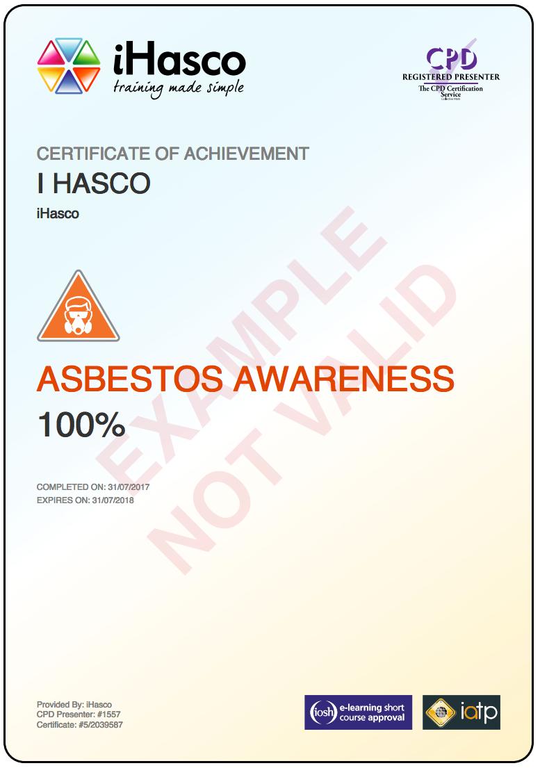 handling manual asbestos awareness certificate training ihasco test printable
