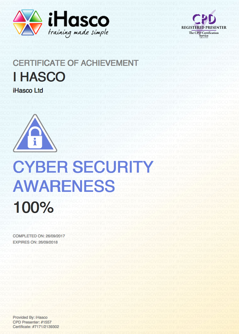 Cyber Security Awareness Training Cpd Approved Course