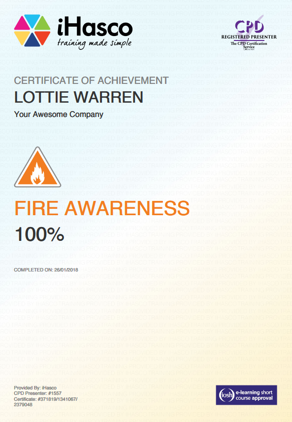 Free Online Fire Training Certificate Demirediffusion