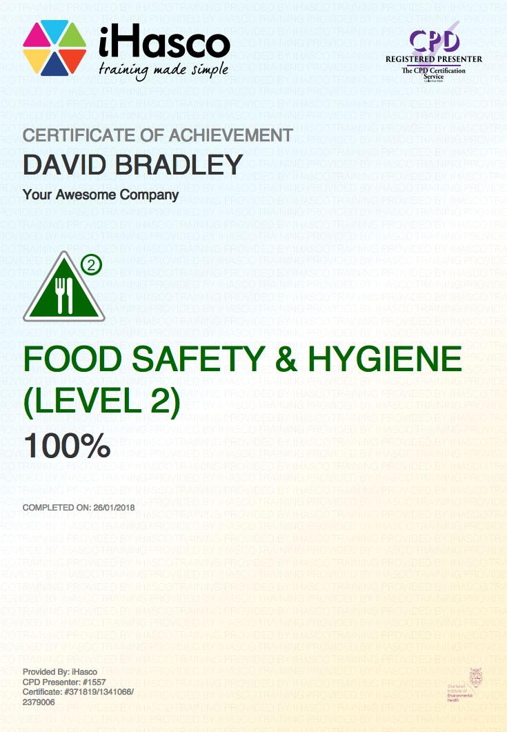 basic food hygiene test