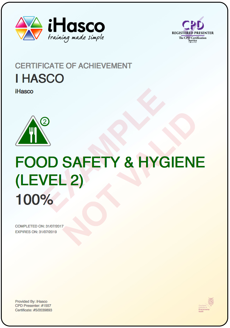 Level  Food And Hygiene Certificate