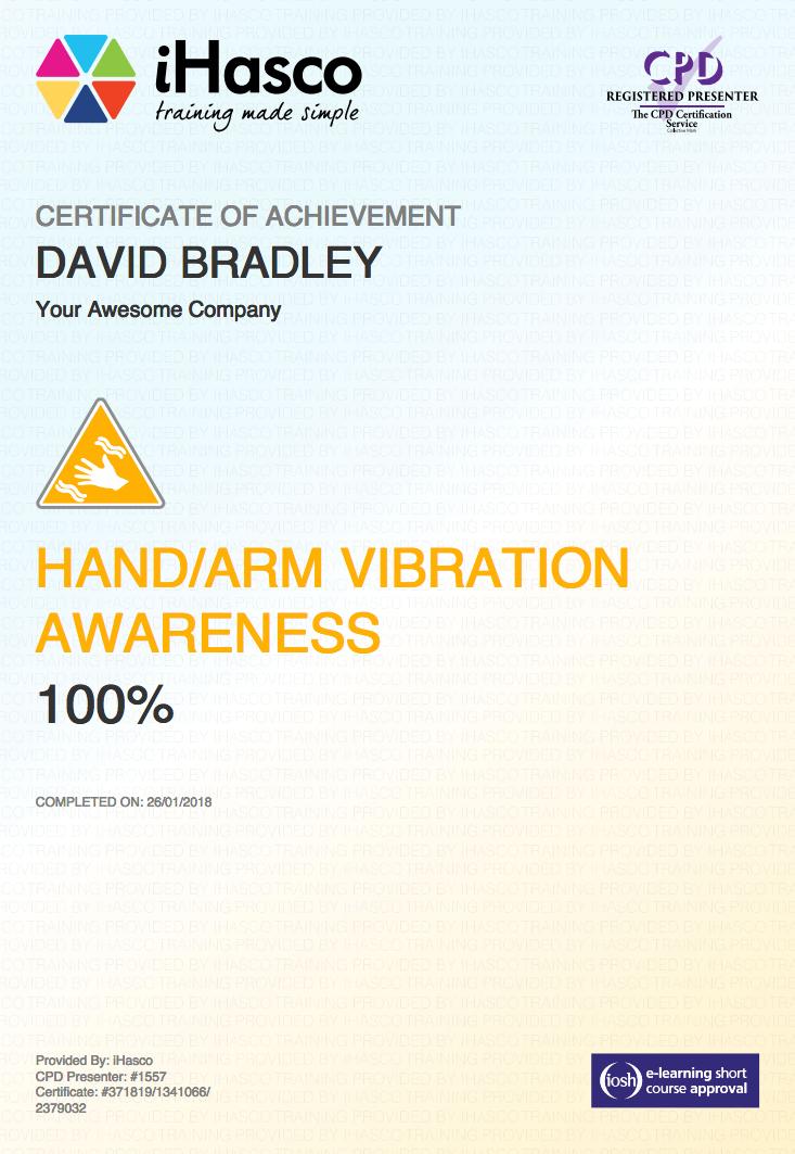 vibration arm hand awareness certificate training ihasco havs test