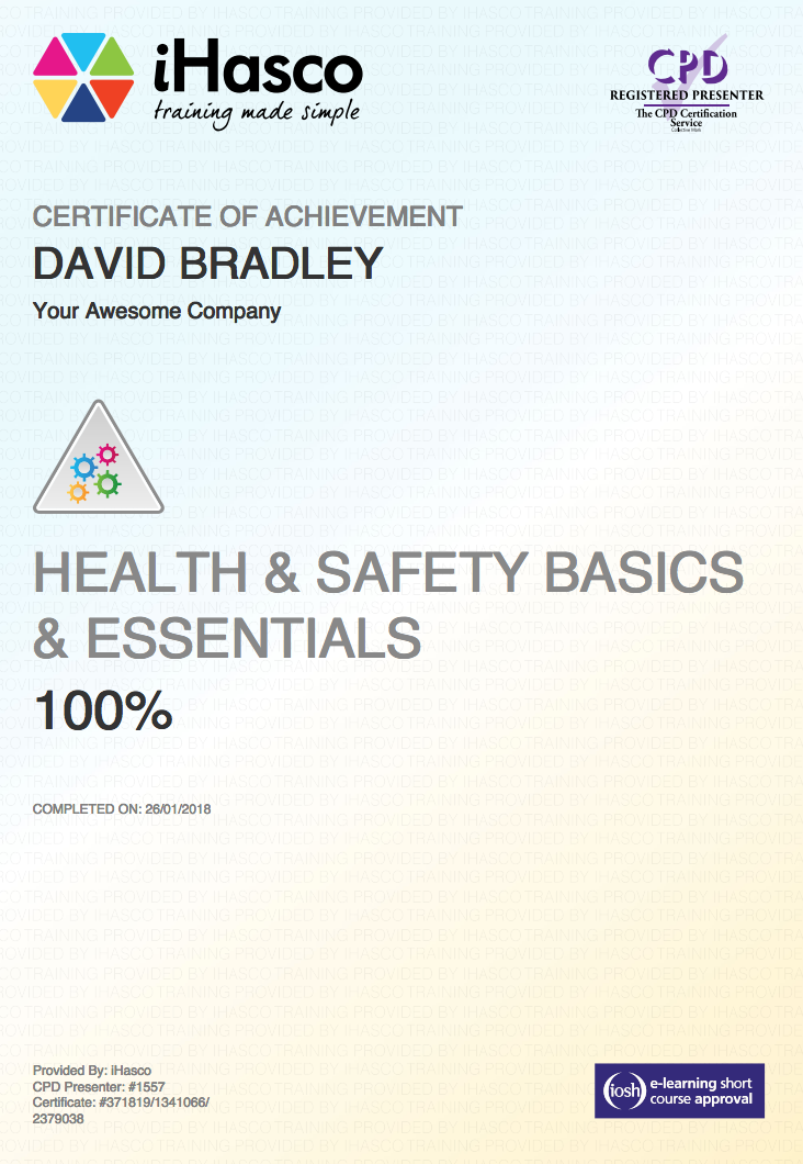 health and safety certificate template - essential health and safety training iosh approved ihasco