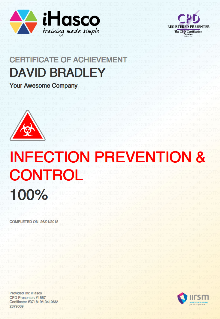 Infection Prevention and Control Training | IIRSM Approved | iHasco