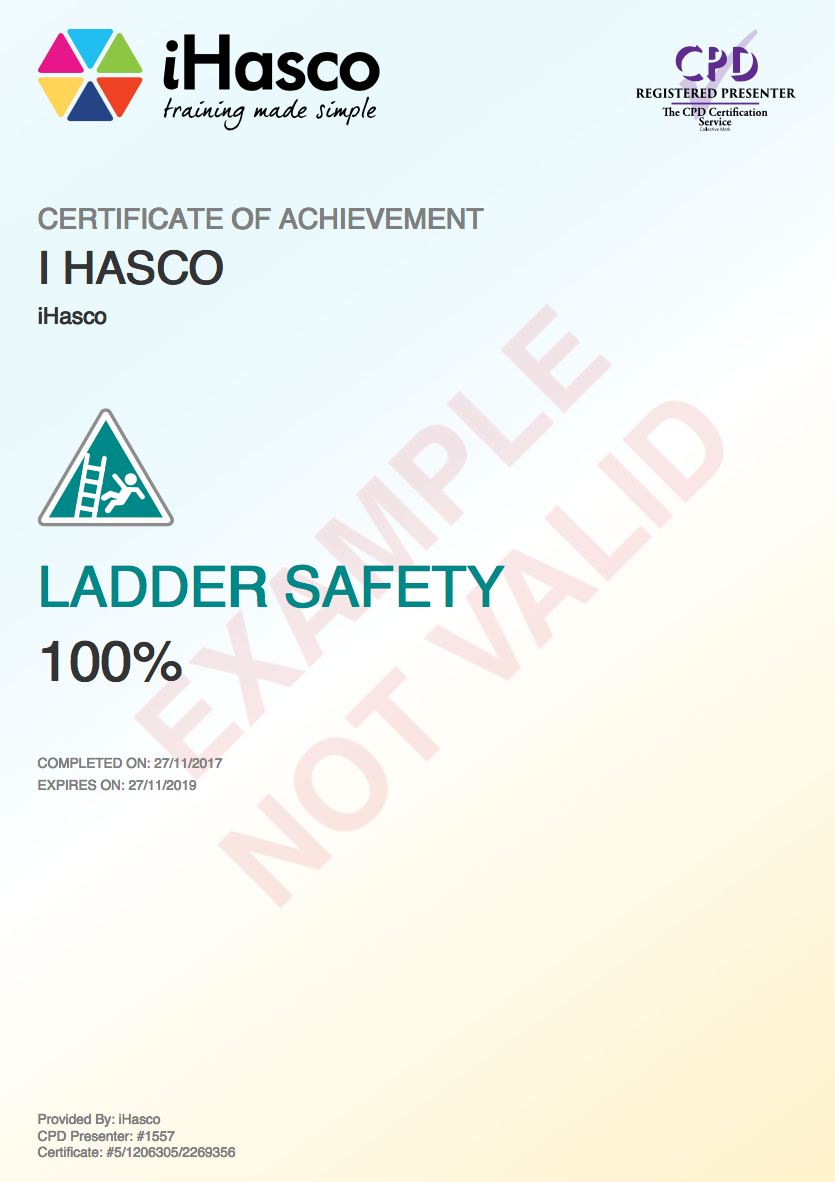 Ladder safety training cpd approved online training ihasco ladder safety certificate xflitez Images
