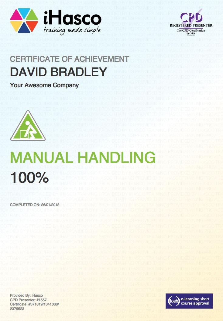 Manual Handling Training Iosh Approved Course Ihasco