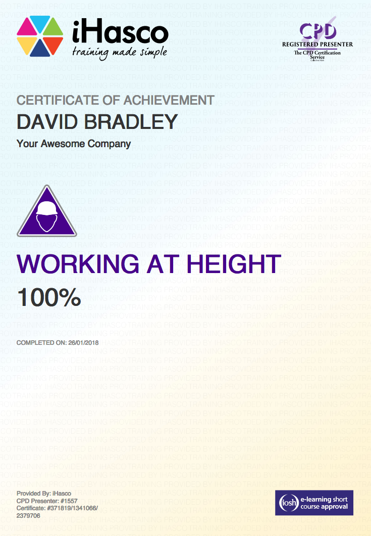 Working At Height Training Iosh Approved Course Ihasco