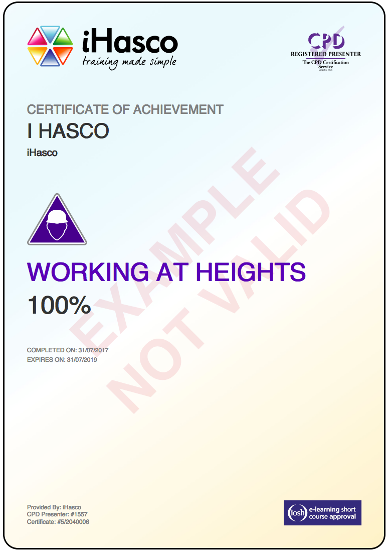 Online Working At Height Training Iosh Amp Cpd Approved