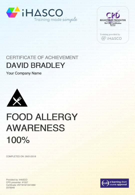 food allergy awareness training iosh approved ihasco