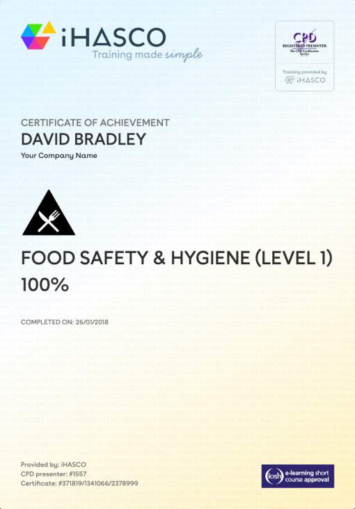 Food Safety And Hygiene Training Level 1
