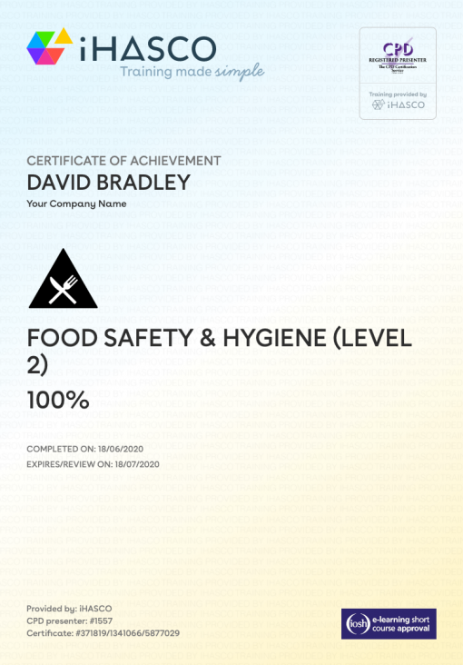Food Safety And Hygiene Training Level 2