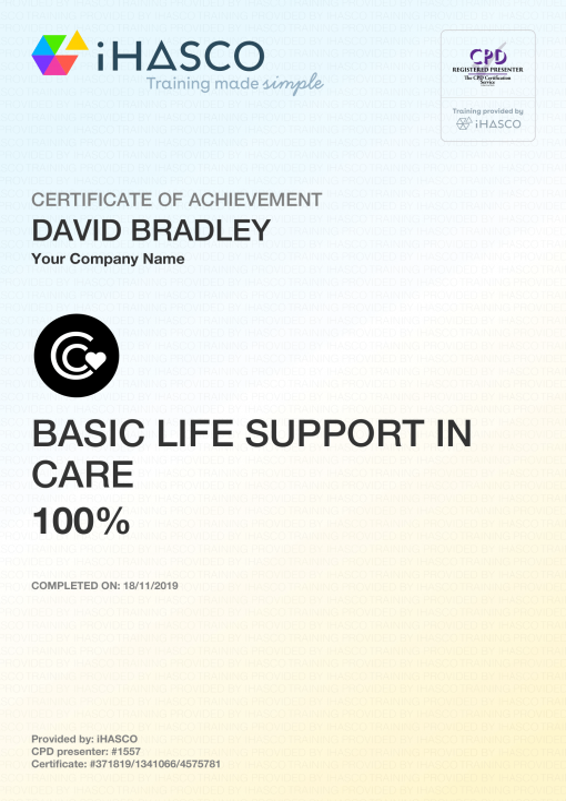 basic support certificate training care ihasco certificates
