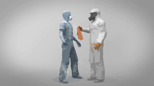 Two workers, one in a protective suit and respirator, the other with asbestos dust, to show the importance of asbestos awareness