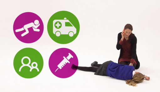 Image showing teacher calling ambulance after child's glucose levels have been too low for too long.