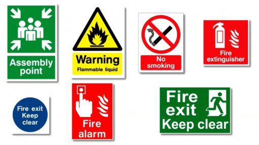 7 different fire signage for fire awareness training in education