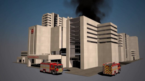 Fire Awareness for in Care Chapter 3: Image showing the outside of a hospital building on fire to demonstrate the risks from fire