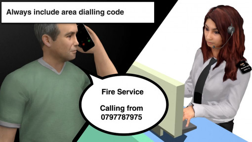 Fire Awareness in Care Chapter 4: A man telephoning the emergency services after having discovered a fire